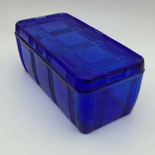 "VINTAGE 4"" X 8"" REFRIGERATOR DISH WITH LID BY HAZEL-ATLAS CRISSCROSS COBALT BLUE"
