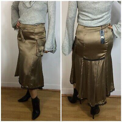 BNWT VDT Camel Silky Lace Belt Pocket Drape Midi Skirt 12 14 Steampunk Cargo