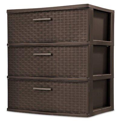 3 Drawer Wide Weave Tower Home Room Storage Closet Organizer Furniture -