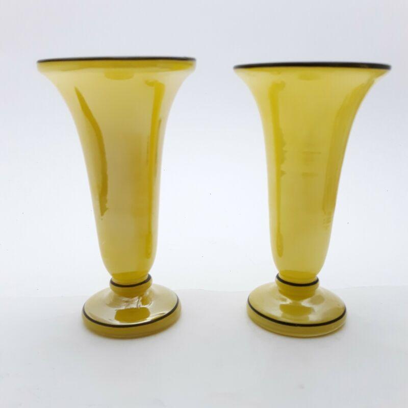 Pair of Vintage Art Glass Vases Yellow White - Art Deco
