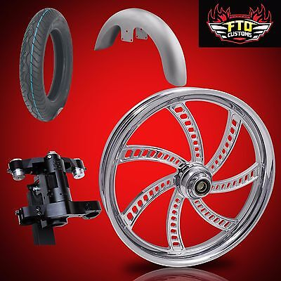 "Harley 30 inch Front End Big Wheel kit, Wheel, Tire, Neck, Fender, "" Slapshot"""