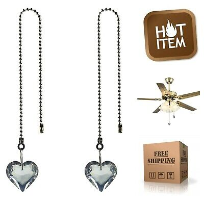 2-Pack Crystal Heart Prisms Pendant Lighting & Ceiling Fan Pull Chains 12