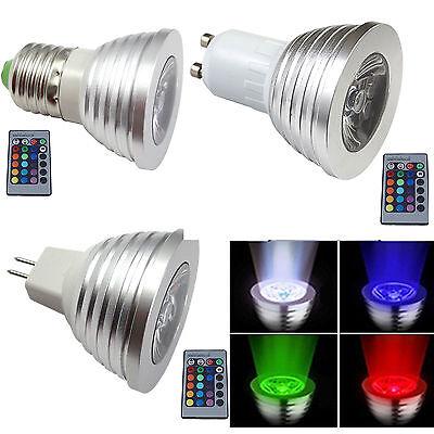 Led-spot-licht (3W RGB MR16 E27 GU10 LED Spotlicht Glühbirne Lampe 16 Farbe 24K IR Fernbedienung)