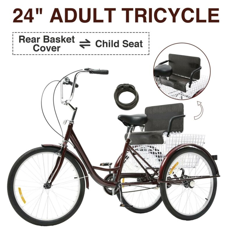 "24"" Adult Tricycle Three Wheel Trike Bike Cruiser with Rear"