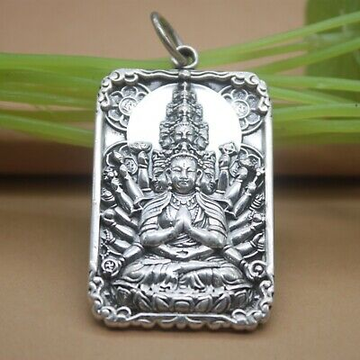 Pure S925 Sterling Silver Thousand Hands Faces Bodhisattva Buddha Oblong (Oblong Face Men)