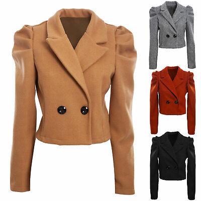 Giacca donna panno doppiopetto cappotto corto maniche palloncino TOOCOOL VI-0111