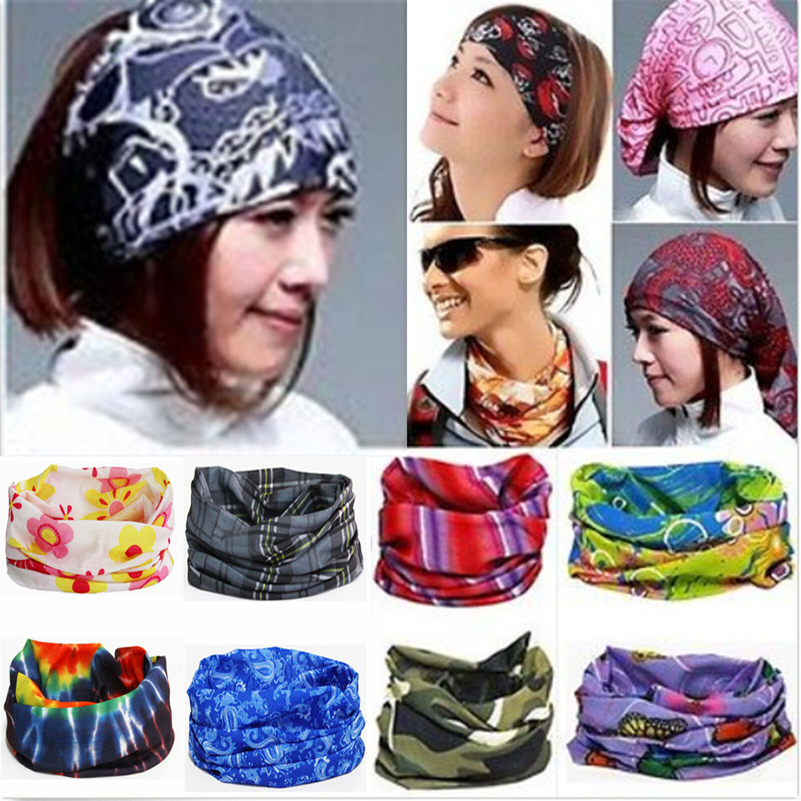 Details about 3in1 Neck Head Scarf Kerchief Headband Wrap Bandana Running  Hiking Face Mask 297bddfc1fd