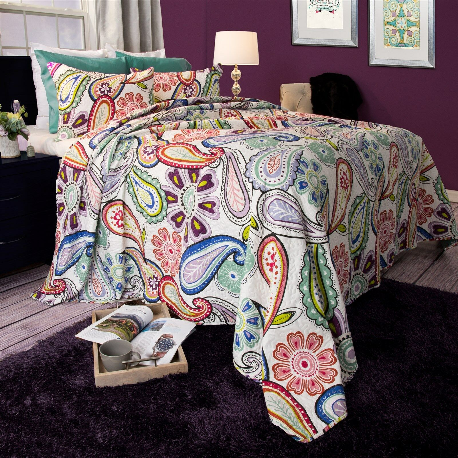 Paisley Floral Reversible Quilted Blanket Bedspread Twin Que