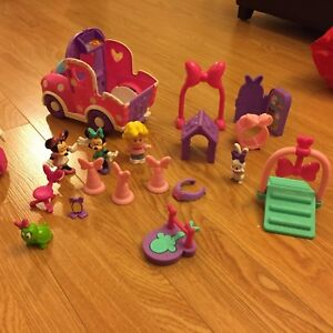 Minnie Mouse, playdoh toys and board with letters and numbers
