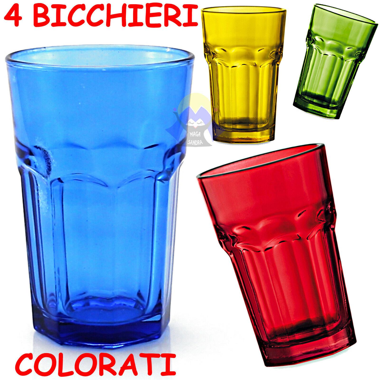 Set 4 BICCHIERI di VETRO Colorati BAR per COCKTAIL Mojito LONG Soft DRINK Vino