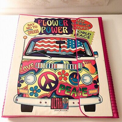 VTG 1989 Lisa Frank Ultra Neo VW Bus Flower Power 3 Ring Binder ()