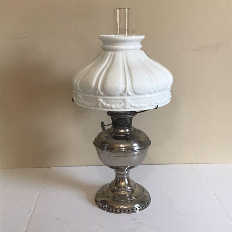 Vintage Center Draft Oil Kerosene Lamp with Shade.