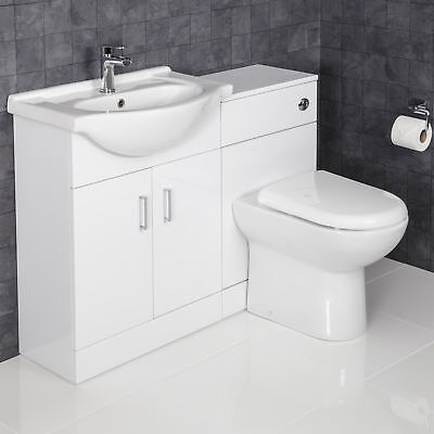 1150mm Toilet and Bathroom Vanity Unit Combined Basin Sink Furniture Gloss White