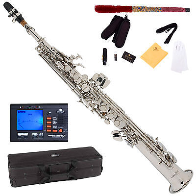 NEW NICKEL PLATED Bb SOPRANO SAXOPHONE SAX PACK + TUNER on Rummage