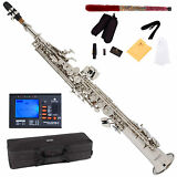 NEW NICKEL PLATED Bb SOPRANO SAXOPHONE SAX PACK + TUNER