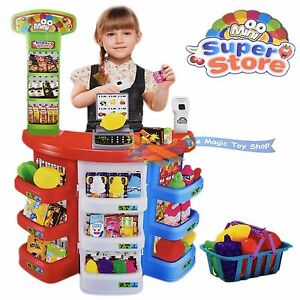 Kids Super Store Supermarket Market Stall Play Food Toy Shop Shopping Basket