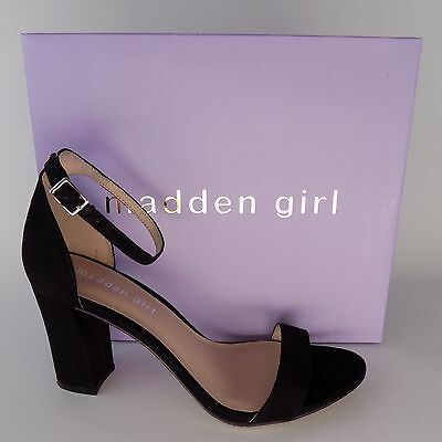 MADDEN GIRL Beella Black Fabric Ankle Strap Heels Women Shoes Size 8.5 AL2526