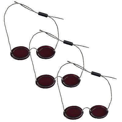 """3x UV-Patienten Schutzbrille mit Gummizug """"Rot"""" Solariumbrille UV-Brille"""