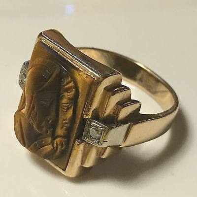 Vintage Tiger's Eye 10K Gold Roman Soldier Ring with Diamond Accents