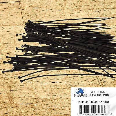 100 Pcs Black Cable Ties 12 Inch 40lbs Fantastic Quality Zip Ties Nylon Ties