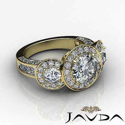 3 Stone Dazzling Round Diamond Solid Engagement Ring GIA G SI1 Platinum 2.3 ct 10