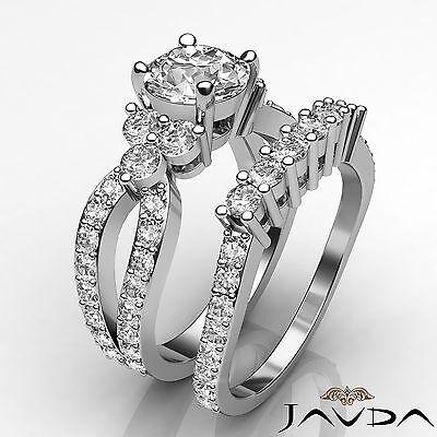 3 Stone Split Shank Round Diamond Engagement Pave Bridal Ring GIA H SI1 2.55 Ct