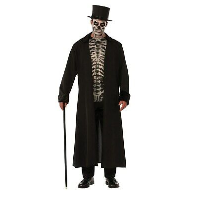 Dead Gangster Halloween Costumes (Men's Skull Mob Adult Halloween Costume Skeleton Mobster Day Of The Dead)