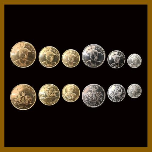 Swaziland 10 20 50 Cents & 1 2 5 Emalengeni (6 Pcs Coin Set), 2015 Flower Unc
