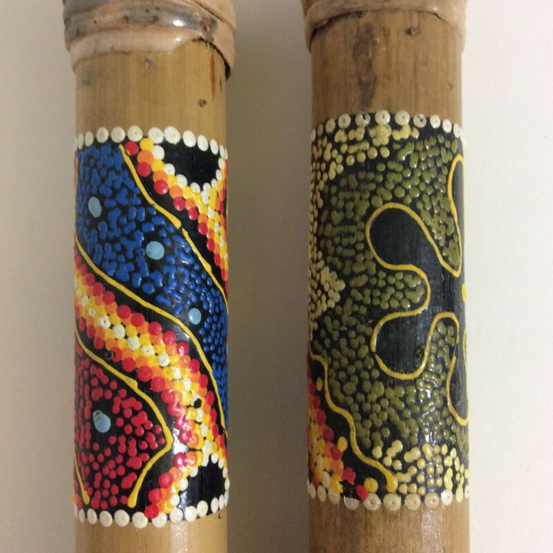 Australian Aboriginal Rain Makers Rain Sticks Musical Instrument Set of 2