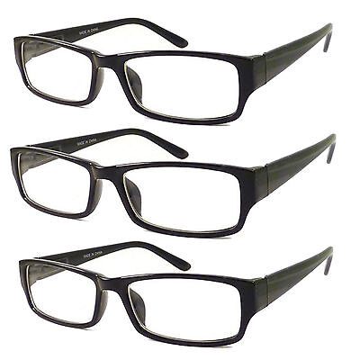 3 PC BLACK FRAME RETRO Geek Nerd Non Prescription Vintage Clear Lens Eye Glasses (Black Geek Glasses)