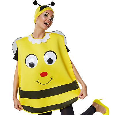 Unisex Kostüm Biene Bienchen Bienenkostüm Riesenaugen Poncho Fasching - Unisex Kostüm