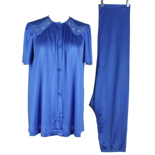 Vintage Vanity Fair 2 Piece Pajama Set Pants & Shirt Blue Antron Nylon S
