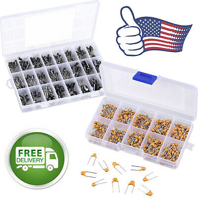 600pcs Ceramic Capacitor 500pcs Electrolytic Capacitor Assortment Kit Wbox Us