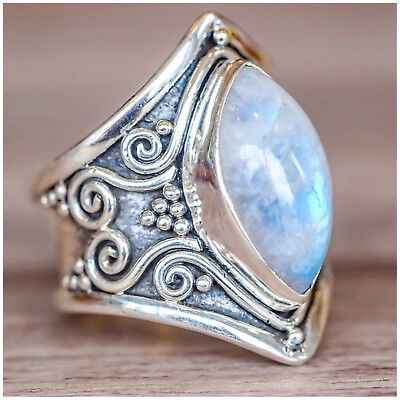 - Women's Antique Silver Plated Marquise Shape Moon Light Stone Cocktail Ring