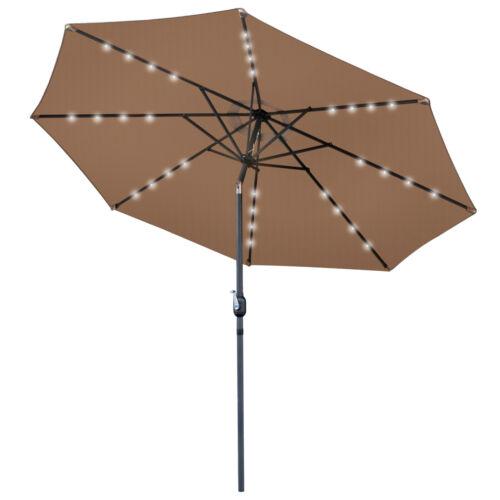 10FT Patio Solar Umbrella 32LED Patio Market Steel Tilt W/ Crank Outdoor New Garden Structures & Shade