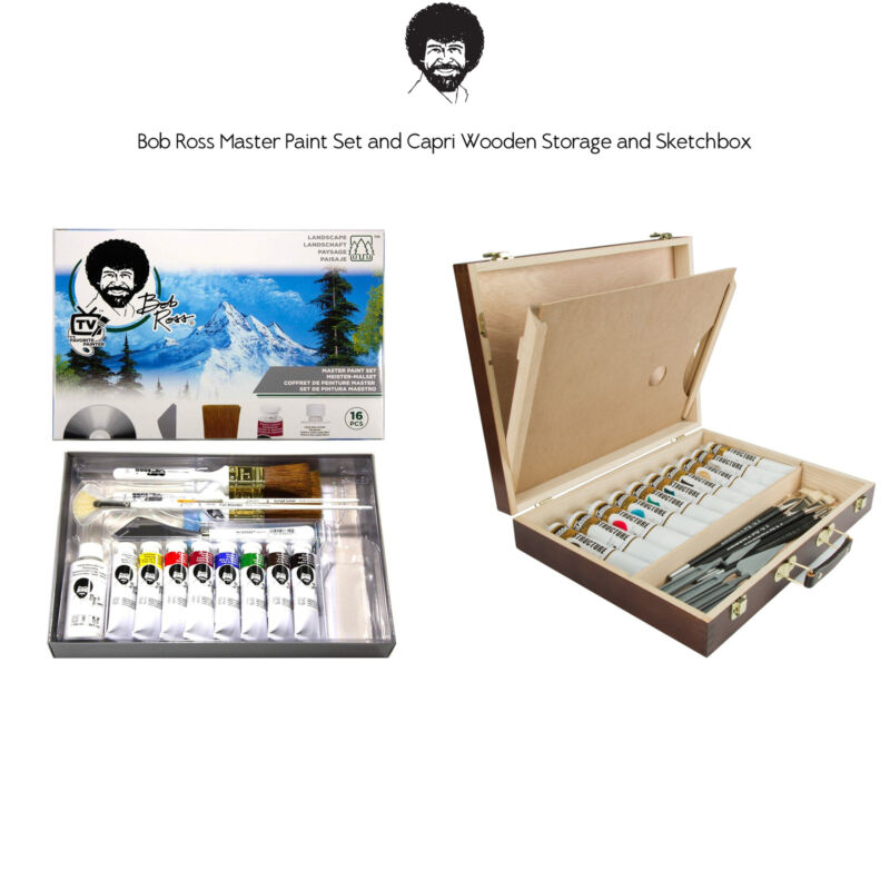Bob Ross Master Artist Oil Paint Set Includes Storage Case Sketchbox & Palette
