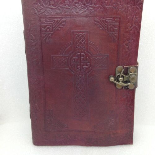 Embossed Leather Grimoire Celtic Cross Journal Book of Shadows Diary