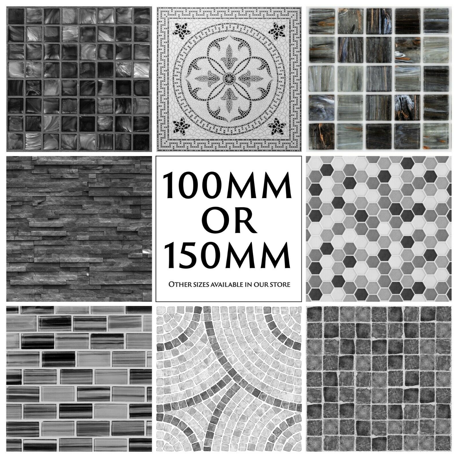 Mosaic Tile Stickers Kitchen Bathroom Black Grey Marble Effect - 150mm or 100mm