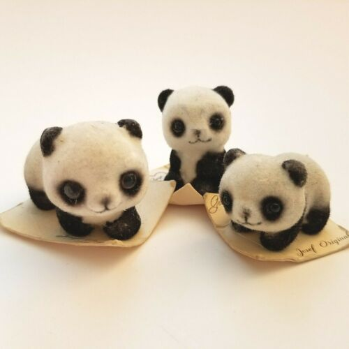 Vintage JOSEF ORIGINALS Figurines Set of Three Flocked Panda Figures