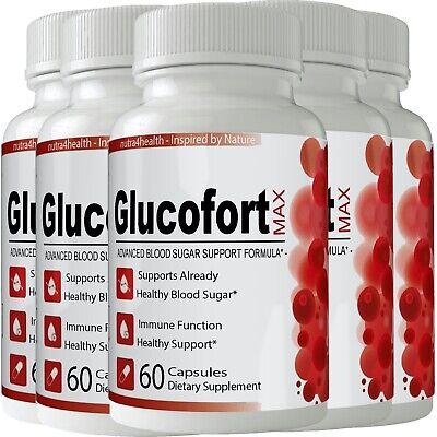 5 Bottles Glucofort Advanced Blood Sugar Support Formula - MAX Gluco Fort New
