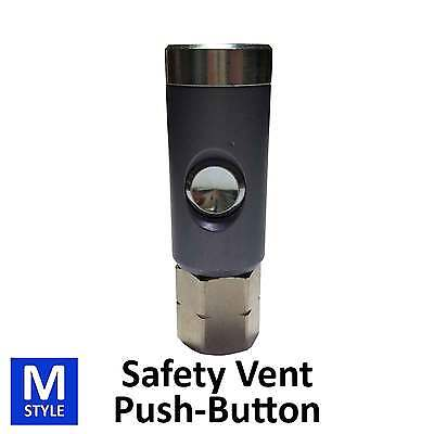 Foster Push-Button Safety Vent Coupler Zero Pressure Connect Air Hose FIttings M