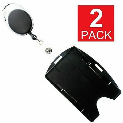 2-Pack Card ID Holder with Retractable Badge Reel w Carabiner & Belt Clip Clothing, Shoes & Accessories