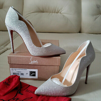 NIB Christian Louboutin Hot Chick 100 Glitter Pumps 37 So Kate Pigalle NEW