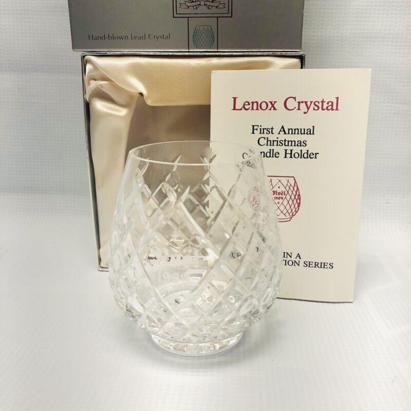 1984 First Annual Lenox Crystal Christmas Candle Holder -Noel- Handblown Crystal