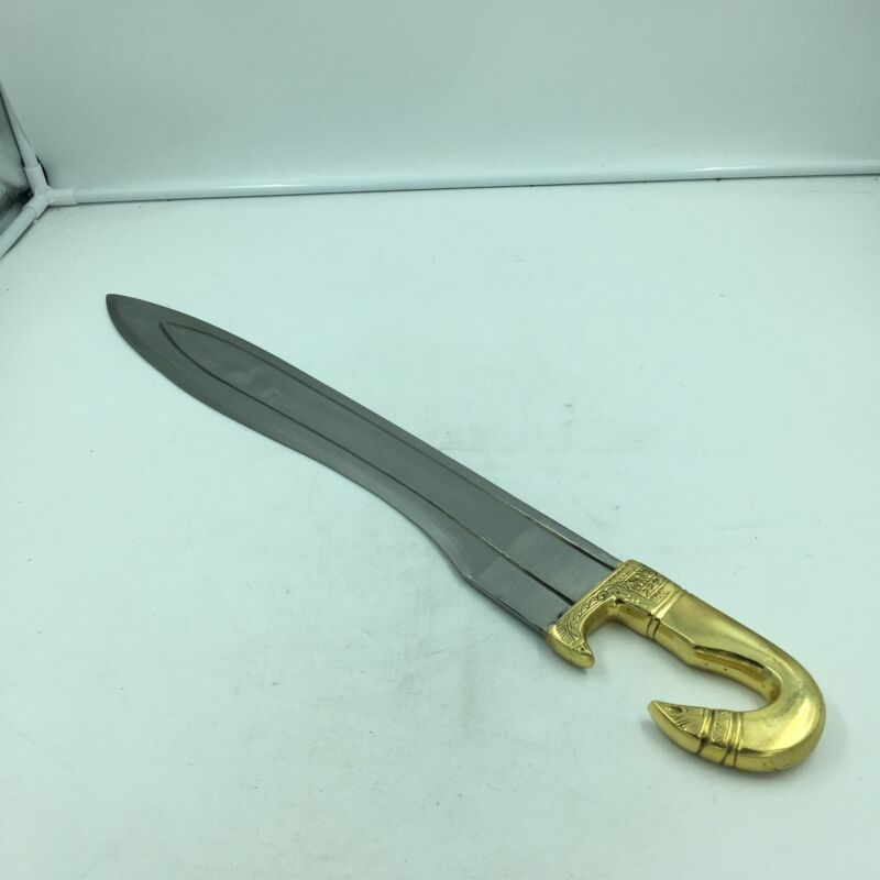 "Greek Falcuta Sword Replica Brass Horse Head Handle, Carbon Steel Blade 25"""