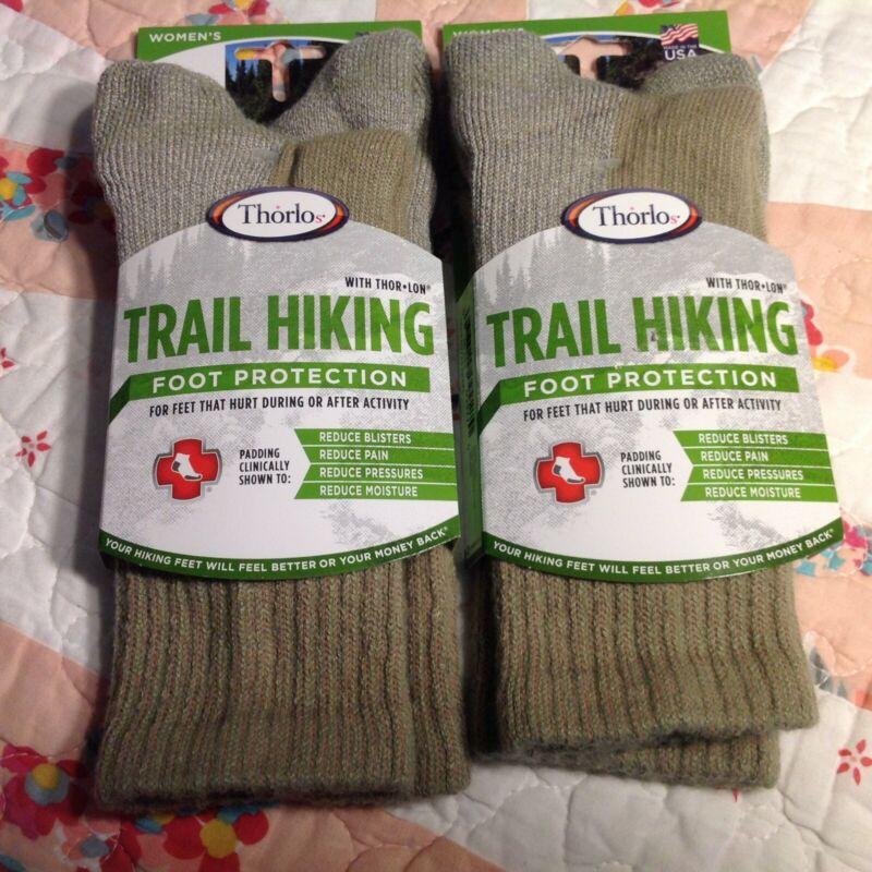 THOROLOS Socks Men Women Trail Hiking Crew Padded (2 ) Pairs NEW size S Khaki