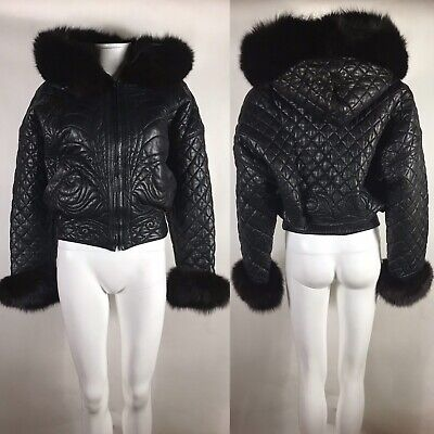 Rare Vtg Gianni Versace Black Quilted Leather Fur Trim Puffer Jacket XS 38