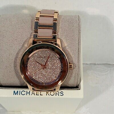 Michael Kors Kinley Pave Crystal Rose Gold Bracelet Watch MK6432 NWT $350