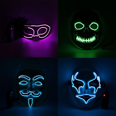 Halloween Mask Party Costume Cosplay Masquerade NEON Rave EL Wire + Controller - Halloween Rave