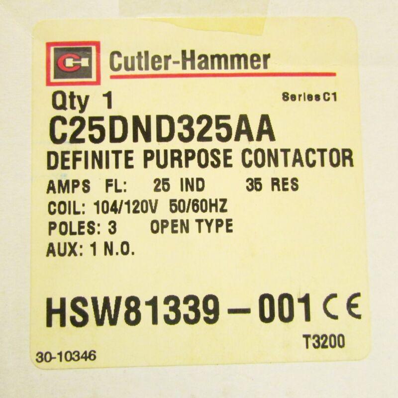 EATON CUTLER HAMMER Definite Purpose Contactor HSW81339 001